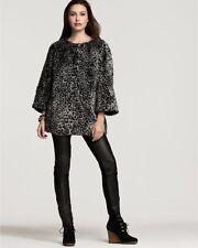NWT DKNY Animal Leopard Print Gray Black Faux Fur Coat Jacket Size Large L $308