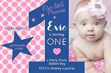 Personalised 1st Birthday Invitations Pink Blue Photo invites Navy Polka Dots 2n