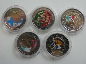 Europa 5 x 2 Euro 2004-2010 Farbgeld Lot 5 Münzen (7