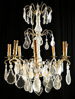 Antique french bronze & glass chandelier Carved glass flowers and plaquets
