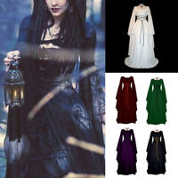 Retro Women Medieval Dress Gothic Steampunk Long Dress Cosplay Costume 6 Styles