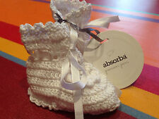 Chaussons naissance ABSORBA, crochet blanc, val 20€