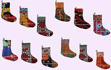 Indian 10 PC Wholesale Lot Cotton Recycled Handmade Kantha Christmas stockings