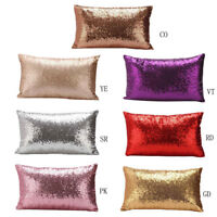 Home Glitter Sequins Solid Color Cushion Pillow Throw Car Sofa Cover Decoration
