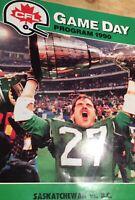 CFL Game Day Program 1990 Saskatchewan Vs. B.C. Vintage Magazine Football
