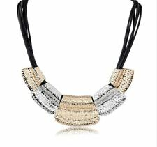 Trendy Chunky Jewellery ~ Gold and Silver Statement Faux Leather Necklace Chain