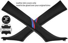 BLACK STITCH M STRIPE 2X A PILLAR LEATHER COVERS FOR BMW 5 SERIES E60 E61 03-11