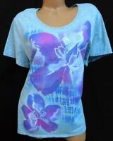 JMS gray purple shimmer floral print scoop neck women's short sleeve top 2X