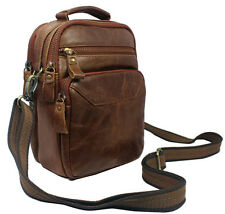 Fashion Men Brown Genuine Leather Shoulder Bag Messenger Bag Small Bag Wait Pack