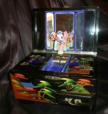 Wwii Japanese Lacquer Jewelry Music Box w Geisha, Stick-Horse, Amer Flag-Video!
