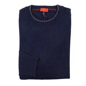 Isaia Slim-Fit Tipped Navy Lightweight Superfine Merino Wool Sweater M NWT $875