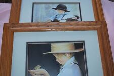 """Amish Boy with Frog"" &"" Boy with Calf"" Prints by Nancy Noel Framed & Matted"