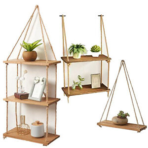 Solid Natural Wood Floating Shelves Rustic Wooden Hanging Rope Wall Shelf
