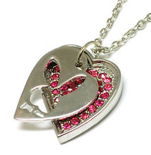 BRAND..NEW..SILVER..PLATED..PLAYBOY  OPEN...HEART. .BUNNY..ON PINKCZ...PENDANT..