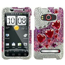 Stylish Heart Crystal Diamond BLING Hard Case Phone Cover for Sprint HTC EVO 4G