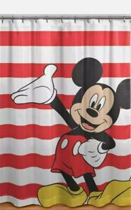 Disney Classic Mickey Mouse Hand Out Stripes Colorful Fabric Shower Curtain NIP