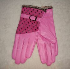 Ladies Genuine Pink Leather Gloves Peacock Premium Quality Warm Fur Lining S