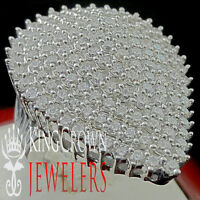Real White Gold Silver Ladies Heart Shape Lab Diamond Big Look Bridal Ring Band