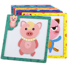 Baby Kids Intelligence Development Animal Cognize Wooden Brick Puzzle Toy Retro