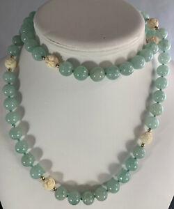 Jadeite & Carved Bead Necklace Gold Spacers