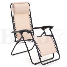 Sedia a Sdraio Relax Pieghevole Multi Posizione da Mare Giardino Breeze Ecrù