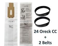 24 Oreck CC Allergen Vacuum Cleaner Bags + 2 Belts Fit XL XL2 Upright Models