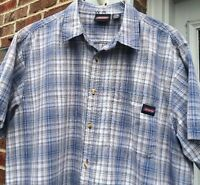 DICKIES Men's Shirt XL Extra Large Button Front Blue Cotton Plaid Short Sleeves