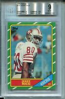 1986 Topps Football #161 Jerry Rice Rookie Card RC Graded BGS MINT 9 49ers