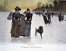 PLANCHE DE GASTON BETHUME LE PATINAGE AU BOIS DE BOULOGNE 19 EME
