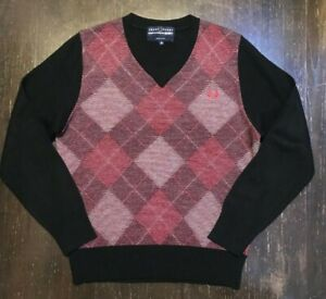 COMME des GARCONS Shirt x FRED PERRY Mens Argyle V-neck Sweater Sz M CDG
