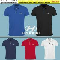 Hyundai Polo T Shirt EMBROIDERED Auto Car Logo Slim Fit Tee Gift Mens Clothing