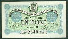 Necessity 1 franc chambre de commerce de Constantine Algeria etat neuf nº 31