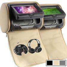 """US Headrest 2 X 7"""" Car Monitor Pillow DVD Player GAME USB/SD IR Headphone Beige"""