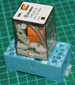 Finder relay type 60.13 3PDT with base (available with 24Vac or 230Vac coil)