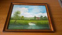 Oil On Board Painting Raymond Price 1970s original 24cm x29cm river woodland 70s