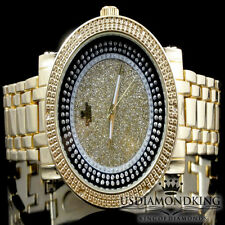 MEN'S BIG FACE NEW YELLOW GOLD FINISH .06CT GENUINE REAL DIAMOND WRIST WATCH