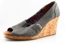 Toms Wedge Gray Fabric Women Shoes Size 7.5 Medium (B, M)