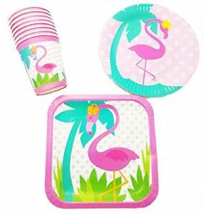 Polka Dot Sky Flamingo Theme Party Tableware Pack Paper Plates Cups Vibrant 24pc