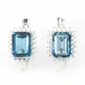 FLAWLESS OCTAGON CUT LONDON BLUE TOPAZ EARRING WITH WHITE CZ 925 STERLING SILVER