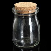 2/5/10Pcs 100ML Small Clear Glass Bottle Wish Vial Container With Cork  D