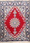 Vintage Geometric Nain Hand-knotted Area Rug Traditional Oriental RED Carpet 2x3