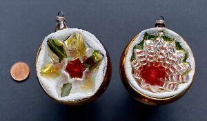 Vintage Large Glass Concave Baubles.Christmas Tree Decoration Ornaments
