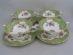 FOUR PARAGON HONITON GREEN SOUP COUPES AND SAUCERS, slight a/f.