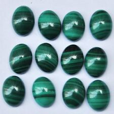 5 PIECES OF 6x4mm OVAL CABOCHON-CUT NATURAL AFRICAN MALACHITE GEMSTONES