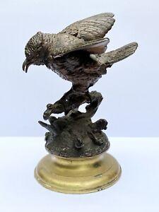 Ferdinand PautrotBronze Bird Statue Brass Base Exquisite French 19th Cent. Art