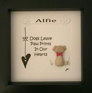 Personalised Pebble Picture Gift Framed Sympathy Memorial Dog Pets Paw Prints