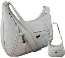 Damenhandtasche Umhängetasche Überschlagtasche Citytasche Tasche Elegant ~ Weiß
