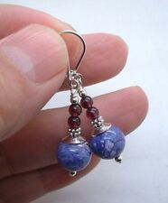 Smooth Purple Chaorite W. Red Garnet Sterling Silver Earrings --- Leverbacks