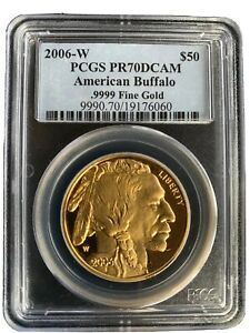 2006-W $50 Gold American Buffalo PCGS PR70DCAM Rare Piece With Perfect Grading