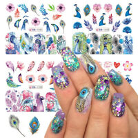 12 Designs Nail Sticker Slider Colorful Peacock Leaf Flower Water Decal Wraps-